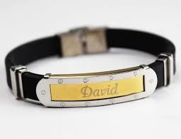 engraved bracelets name bracelet david personalised mens silicone u0026 gold tone