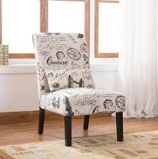 Contemporary Accent Chair Pisano Script Linen Print Fabric Armless Contemporary Accent Chair
