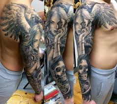 amazing skull tattoos black and grey angel with skull tattoo on right full sleeve 1