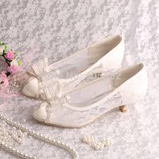 wedding shoes low heel ivory wedopus custom handmade ivory lace low heel peep toe bridal