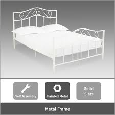 modern metal bed frame in white single double u0026 king size