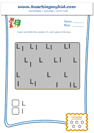 preschool printable worksheets count and write l and l
