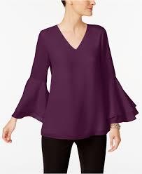 alfani blouses lyst alfani poet sleeve blouse in purple save 19
