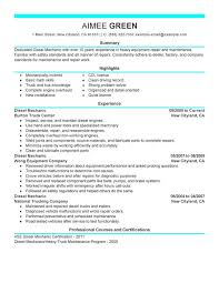 Sample Summary In Resume by Unforgettable Diesel Mechanic Resume Examples To Stand Out