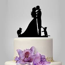 cat wedding cake toppers wedding cake topper with 2 cats and groom silhouette