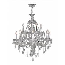 Crystal And Chrome Chandelier Cl Provence 12 Light Chrome Finish And Clear Crystal Chandelier