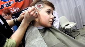 Half Shaved Hairstyles Girls by Heart Design On U0027s Head Youtube