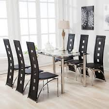 Glass Dining Table For 6 7 Dining Table Set And 6 Chairs Black Glass Metal Kitchen