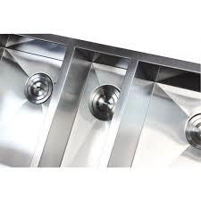 Triple Basin Kitchen Sink by 42 Inch 16 Gauge Stainless Steel Undermount Zero Radius Triple