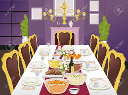 Dining Table With Food Illustration Of A Formal Dining Table Filled With Food Stock Photo