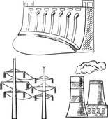 clipart of electrical power plants and towers sketch icons