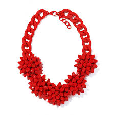red flower necklace images Red verbena flower bouquet faceted handpainted statement bib jpg