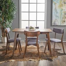 meanda mid century finished 5 piece wood dining set with fabric