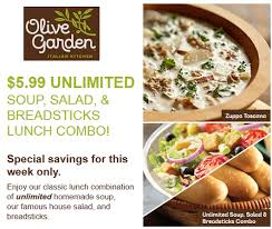 Printable Olive Garden Coupons Olive Garden Coupon 5 99 Soup Salad And Breadsticks Lunch Combo