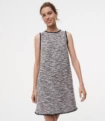 petite fringe tweed shift dress loft