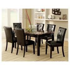 iohomes 7pc faux marble dining table set wood black target