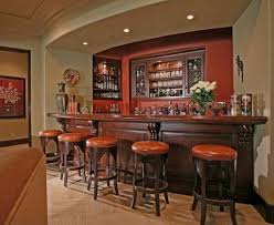 Home Bar Interior Design by Classic Style Home Bar With Dark Wooden Bar Table And Round