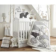Black And White Crib Bedding For Boys Levtex Baby Bailey Charcoal White Woodland Themed 5
