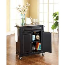 portable stainless steel top kitchen island wood black crosley