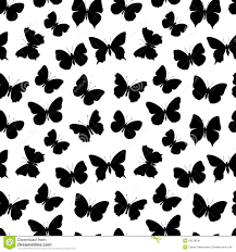 black and white seamless pattern butterfly stock vector