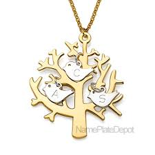 personalized family tree necklace personalized family tree pendant with bird initials in sterling