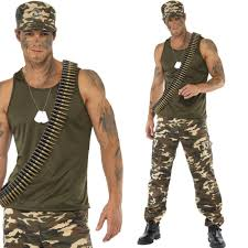 mens army soldier costume armed service uniform fancy dress
