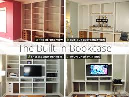 the built in bookcase shelves and drawers rather square