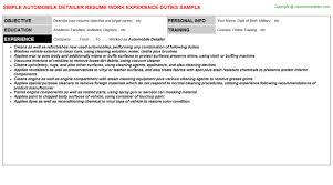 Resume Sample With Job Description by Automobile Detailer Resume Sample