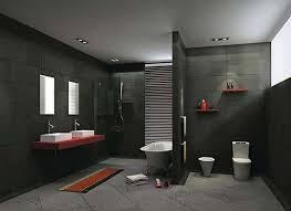grey bathroom ideas with cherry red wall mounted vanity with red
