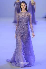 luxury lilac illusion crew neck long sleeve evening gown