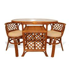 new compact dining set table 2 chairs handmade natural wicker