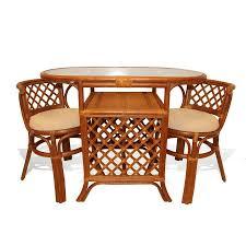 borneo handmade rattan wicker compact dinette dining set oval