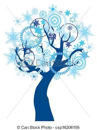 clipart vector of snow tree vector tree with snowflakes