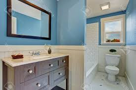 brown and blue bathroom ideas blue and beige bathroom black frame rectangular mirror on white