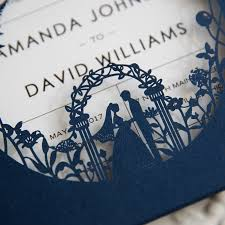 wedding invitations blue garden themed navy blue laser cut wedding invitations swws025