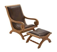 Accent Chair And Ottoman Buy Timeless Wood Leather Chair Ottoman Set Of 2 By Woodland Import