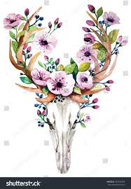 bohemian watercolor vector western mystical deer stock vector
