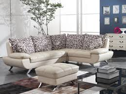 modish sectional for small living room from cream leather tufted