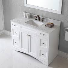 48 single sink vanity with backsplash virtu usa elise 48 inch single sink white vanity with carrara white