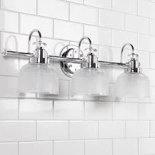 Chrome Bathroom Lighting Fresnel Glass Restoration Bath Light 3 Light Shades Of Light