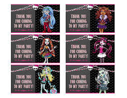free printable monster high goody bag tags chalkboard theme