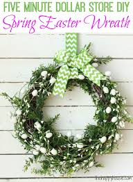 Easter Decorations For Wreaths by Five Minute Dollar Store Diy Spring Easter Wreath The Happy Housie