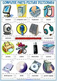 computer parts picture dictionary esl worksheet for kids esl