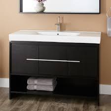Black And White Bathroom Furniture by Wood Open Shelf Vanity Signature Hardware