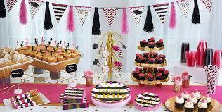 graduation decoration pink black graduation party supplies party city