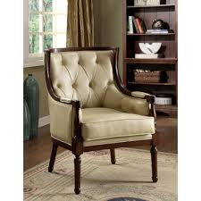 Wooden Arm Chairs Beige Tufted Leather Accent Chair Design With Varnished Wood Arm