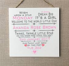 baby plaques baby girl plaque new baby boy gift personalised wooden card w290