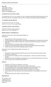 Sample Er Nurse Resume by Resume Examples For Emergency Room Nurses Augustais