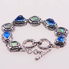 blue topaz silver bracelet images Blue topaz and abalone shell 925 sterling silver jewelry bracelet jpg