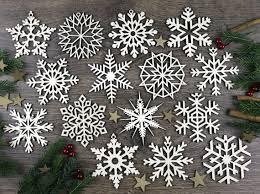 set of 15x wooden snowflake ornaments laser cut